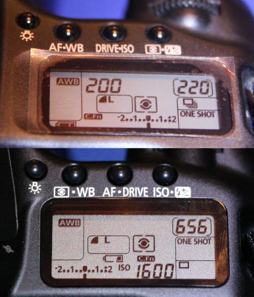 Canon EOS 40D Statusdisplay und Bedienelemente im Vergleich mit Canon EOS 20D